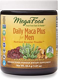 MegaFood, Daily Maca Plus for Men Powder, Supports Overall Health and Vitality, Drink Mix Supplement Vegan, 1.57 oz (30 Se...