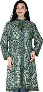 Exotic India Neutral-Gray Long Kashmiri Jacket with Ari Hand-Embroidered Paisleys and Florals