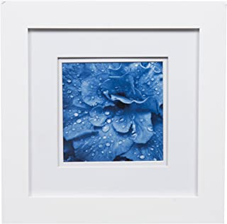 Gallery Solutions White Photo 8x8 Flat Tabletop or Wall Frame with Double Mat for 5x5 Picture, 8