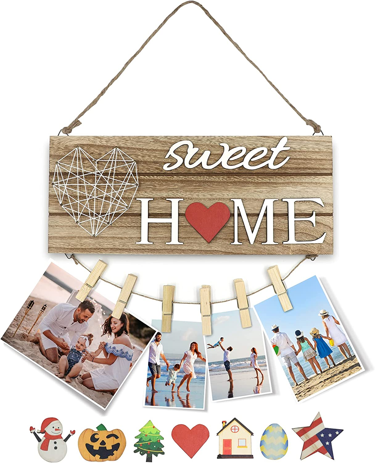 Wooden Seasonal Interchangeable Sweet Home Sign Rectangular Wood Hanging Door Sign for Front Door Decor with 7 Seasonal Ornament Housewarming Gifts Christmas Easter and 6 Pcs Wooden Clips for Picture