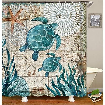 72x72/'/' Sea Turtle Swimming Bathroom Shower Curtain Waterproof Fabric /& Bath Mat