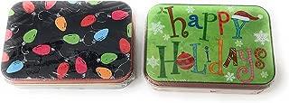 Lindy Bowman Christmas Holiday Gift Card Tin Box, 2-Pack (Happy Holidays String Lights)