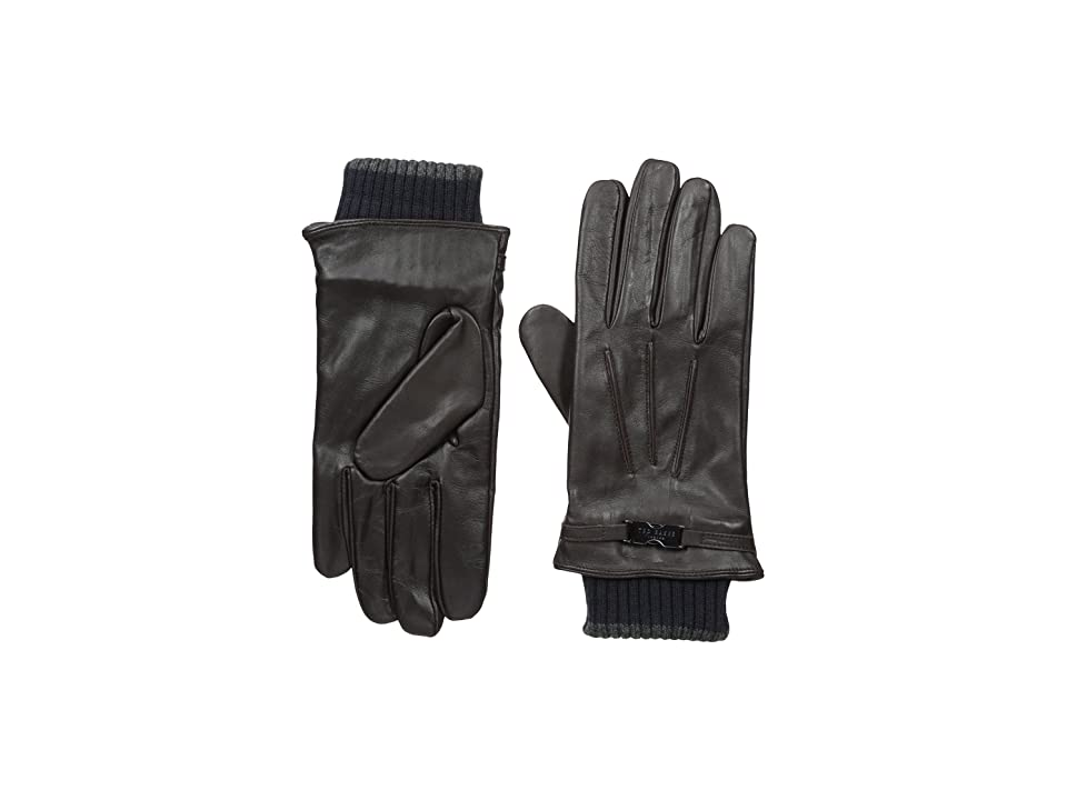 Ted Baker Quiff Ribbed Cuff Leather Gloves (Chocolate) Dress Gloves