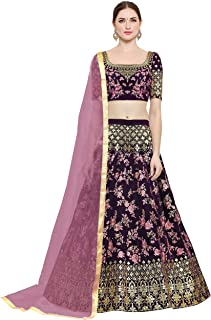 d1480df553 KEDARFAB Women's Taffeta Silk Embroidered Lehenga Choli with Blouse Piece  (Pink,Free Size)