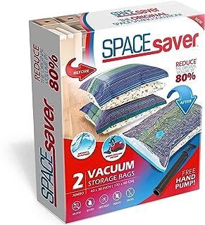 Space Saver Premium Jumbo Bolsas para Almacenamiento al vacío (80% más Almacenamiento Que Marcas Principales, Incluye Bomba de Mano para Viajes.) (2Unidades)