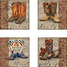 CoasterStone AS10067 Wild West Boots Absorbent Coasters, 4-1/4-Inch, Set of 4