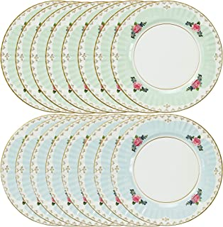 Talking Tables Truly Scrumptious Large Pastel Dinner Paper Plates for a Tea Party, Wedding or Birthday, Blue/Green (2 Pack)