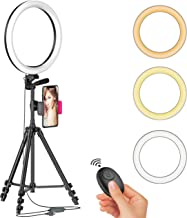 "12"" LED Selfie Ring Light with Tripod Stand & Cellphone Holder for Live Stream/Makeup/YouTube Video, Dimmable Beauty Ringlight for iPhone Android Phone, Color Temperature 3000K-6000K, 162Bulbs, Remote"