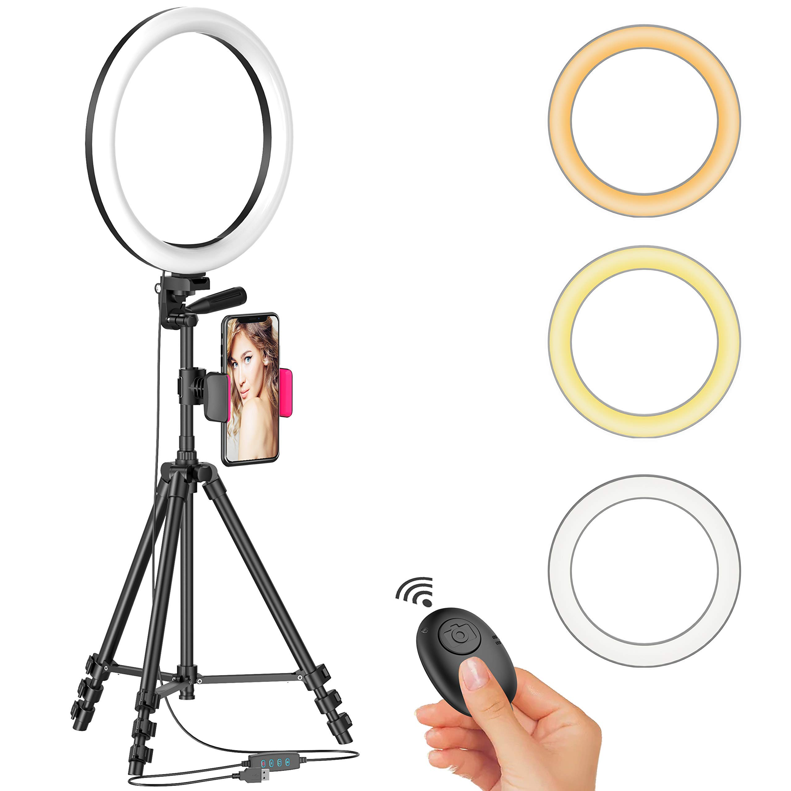 12 LED Selfie Ring Light with Tripod Stand & Cellphone Holder for Live Stream/Makeup/YouTube Video, Dimmable Beauty Ringlight for iPhone Android Phone, Color Temperature 3000K-6000K, 168Bulbs, Remote