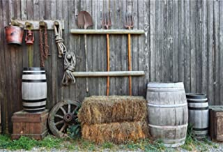 CSFOTO 7x5ft Country Style Backdrop Farm Tools Photography Background Farmer Wooden House Granary Warehouse Hayrick Bowie Country Village Adult Kid Photo Booth Digital Studio Props Polyester Wallpaper