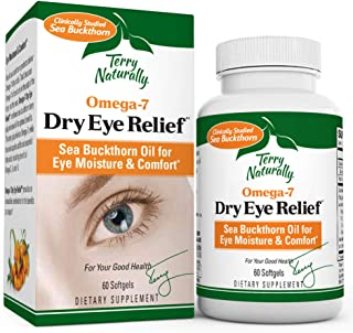 Terry Naturally Omega-7 Dry Eye Relief - 500 mg Sea Buckthorn, 60 Vegan Softgels - Eye Moisture Support Supplement, with O...
