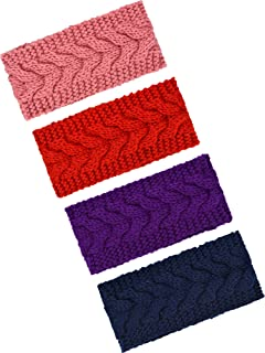 TecUnite 4 Pieces Chunky Knit Headbands Braided Winter Headbands Ear Warmers Crochet Head Wraps for Women Girls