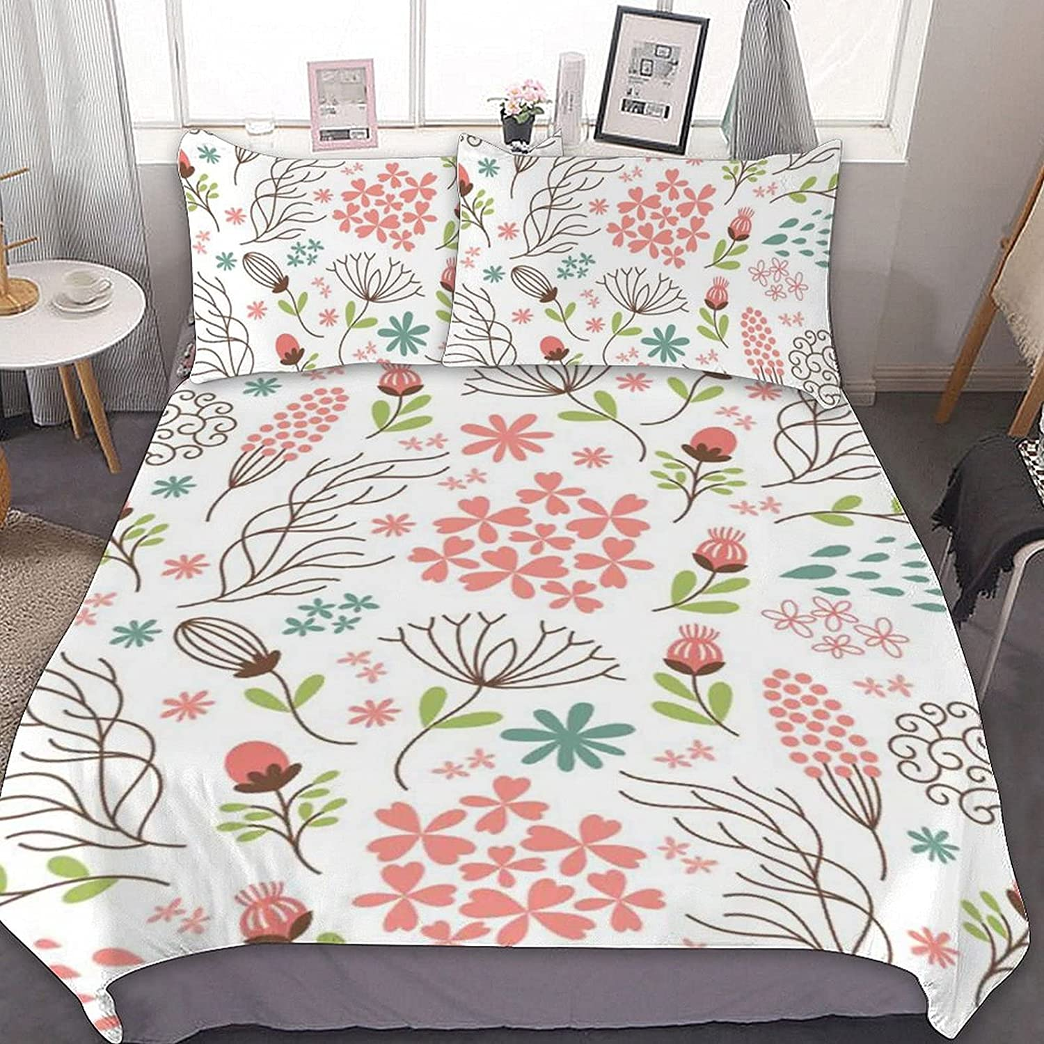 PNNUO Floral Pattern Queen Bed Set Max 43% OFF Twin Comforter Full King Ranking TOP6 Size