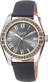 Burgi Women's BUR206 Watch – Swarovski Crystal Studded Bezel – Skinny Genuine Leather Strap with Colored Edges - Classic R...