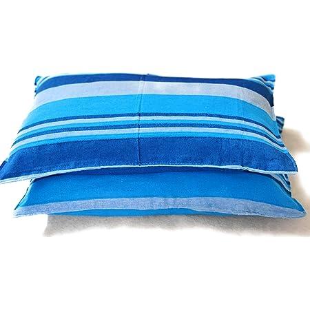 Rangbhar Handloom Pillow Covers, Set of 2 Khadi Cotton Pillow Covers, Striped, 18 x 27 inch- Blue