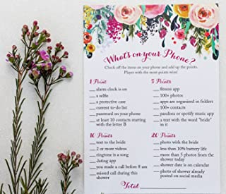 What's On Your Phone Game - Floral Rustic - (50-Sheets) Bridal Shower Party Game Cards Engagement Wedding Bride to Be