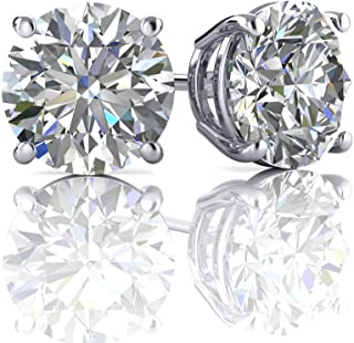 August Wellingsale 14K Yellow Gold Polished Flower Birth CZ Cubic Zirconia Stone Stud Earrings With Screw Back