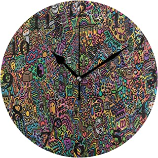 FunnyCustom Round Wall Clock Psychedelic Acrylic Creative Decorative for Living Room/Kitchen/Bedroom/Family
