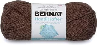 Bernat Handicrafter Cotton Solids Yarn, 1.75 oz, Gauge 4 Medium, 100% Cotton, Warm Brown