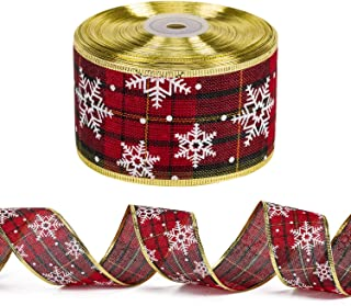 LaRibbons Wired Christmas Holiday Ribbon - Red and Green Plaid Burlap Ribbon with White Snowflake Design - 2.5 inch x 25 Yard Each Roll - Gold Wired Edge