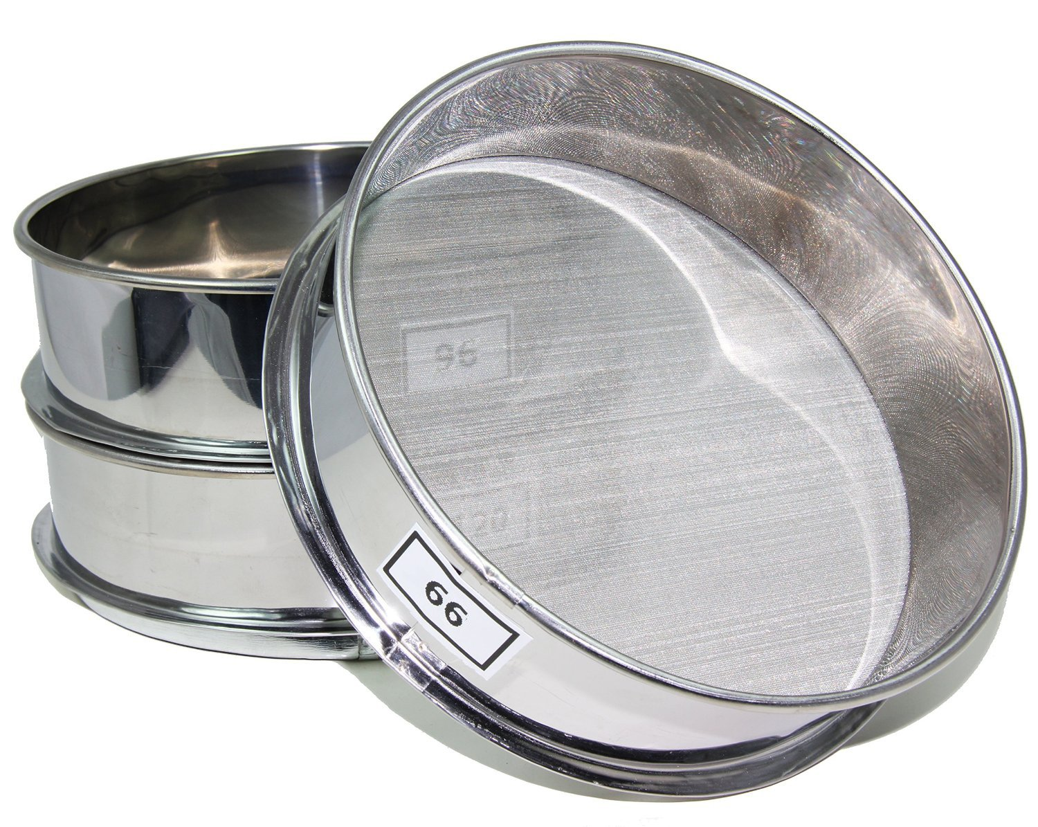 E-ONSALE Aluminum Herbal Pollen Set of 3 Screen Size Stackable Sifter 66, 96, 120 Micron Hash Extractor Sifter Shaker (66, 96, 120)