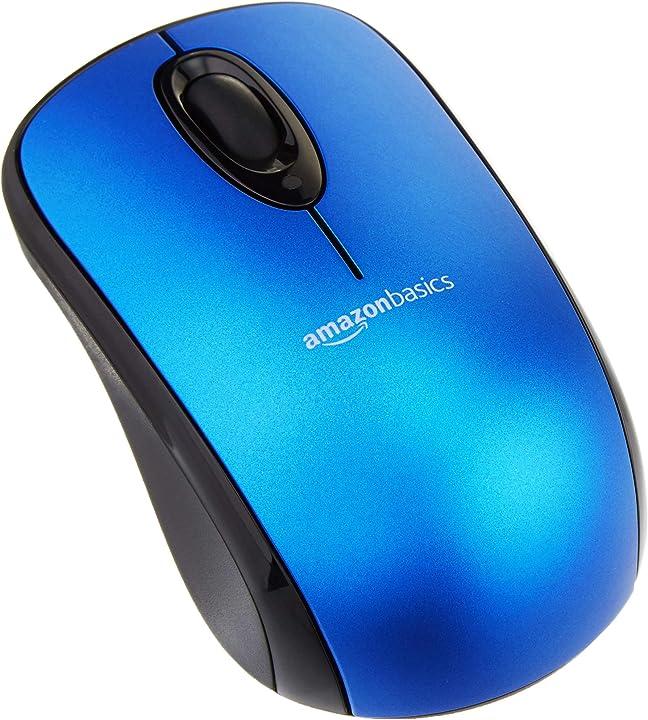 Amazon basics - mouse senza fili per computer, con microricevitore, blu M8126BL01