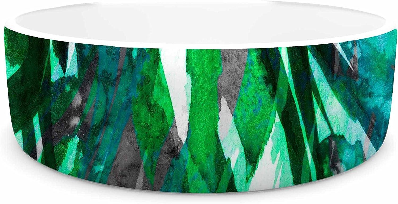 KESS InHouse Ebi Emporium Frosty Bouquet 7  Green Abstract Pet Bowl, 7
