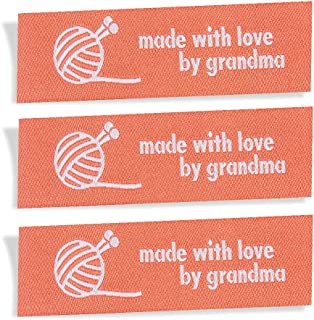 Wunderlabel Made with Love by Grandma Nana Granny Woven Wool Knit Crafting Fashion Woven Ribbon Ribbons Tag Clothing Sewing Clothes Fabric Material Embroidered Tags, White on Red, 25 Labels