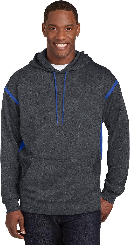 Sport-Tek Tall Tech Fleece Colorblock Hooded Sweatshirt. TST246 Graphite Heather/ True Royal XLT