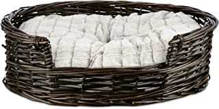 HARMONY Wicker Cat Bed with Faux Fur Insert, 20.5