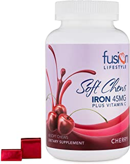Fusion Lifestyle 45 mg Iron Supplement Cherry Flavored Soft Chew Plus Vitamin C, Helps Fight Iron Deficiency, Anemia, and Fatigue, 2 Month Supply, 60 Count