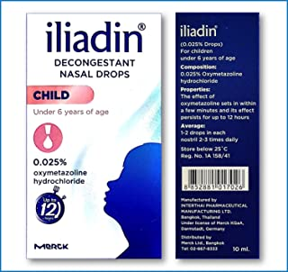Iliadin Pedriatric Nasal Decongestant 0.025% Drops (New Look 0.34 Ounces) for Children Under 6 Years of Age Effective to Relief of Nasal Congestion in Common Cold, Sinusitis and Syringitis