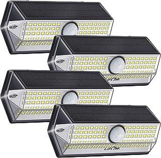 Luz Solar Exterior【Súper Brillante 4 Modos】con Sensor de Movimiento, LITOM Focos LED Exterior, IP67 Impermeable 100LEDs Lu...