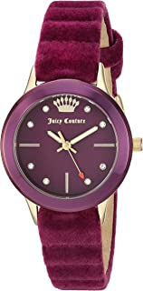 Juicy Couture Black Label Women's Swarovski Crystal Accented Gold-Tone and Purple Velvet Strap Watch, JC/1250PRPR