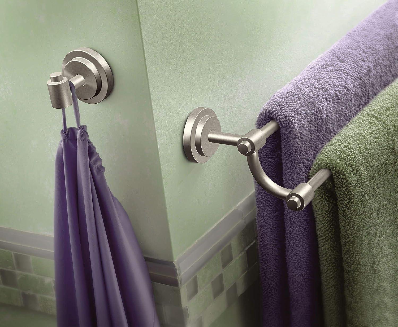 Brushed Nickel Moen DN0722BN Iso 24-Inch Double Towel Bar