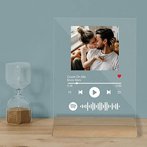 Giftplease Acrylic Customized Photo and song Glass Spotify Plaque with wooden stand   Personalized Photo Music Frame ...
