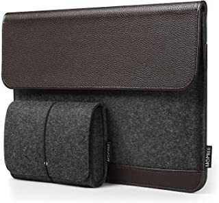 PU Leather Felt Laptop Sleeve, HOMIEE Laptop Protective Case for 13.3 Inch MacBook Air/Pro, Surface Pro, Dell XPS 13 Slim Notebook, Business Laptop Carrying Case, Laptop Bag with Extra Pouch, Brown