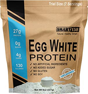 Pure Egg White Protein Powder | Non-GMO, Gluten-Free, Soy-Free, Dairy-Free, Keto (Low Carb), Paleo, Made in USA, Natural BCAAs (8oz / Trial Size, Unflavored)