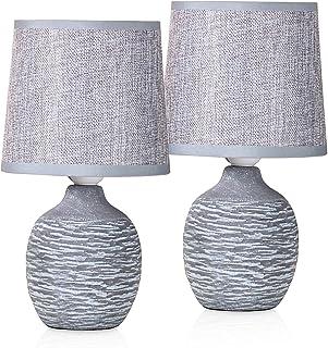 BRUBAKER - Lampe de table/de chevet - Lot de 2 - Design campagne/rustique - Hauteur 27 cm - Pied en Céramique - Abat-jour ...