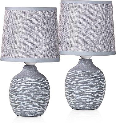 BRUBAKER - Lampe de table/de chevet - Lot de 2 - Design campagne/rustique - Hauteur 27 cm - Pied en Céramique - Abat-jour en Lin/Gris