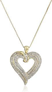 "Amazon Collection 10k Yellow Gold Diamond Heart Pendant Necklace (1/2 cttw), 18"""