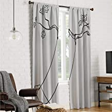 Mozenou Bedroom Curtains Drapes Panels Outdoor,Sketchy Leaves Tree Branch with a Swing and Word of Joy Garden Park Play Childhood,Black White W84 x L108 Inch