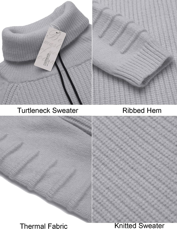 COOFANDY Men's Knitted Turtleneck Sweater Cotton Hightneck Shawl Collar Pullover