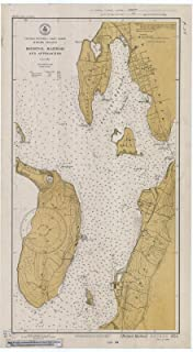 Map - Bristol Harbor And Approaches, Rhode Island, 1934 Nautical NOAA Chart - Rhode Island (RI) - Vintage Wall Art - 13in x 24in