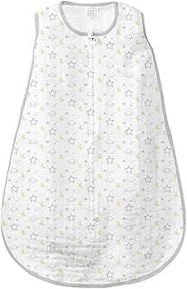 SwaddleDesigns Cotton Muslin Sleeping Sack with 2-Way Zipper, Sterling Goodnight, Medium 6-12 Months
