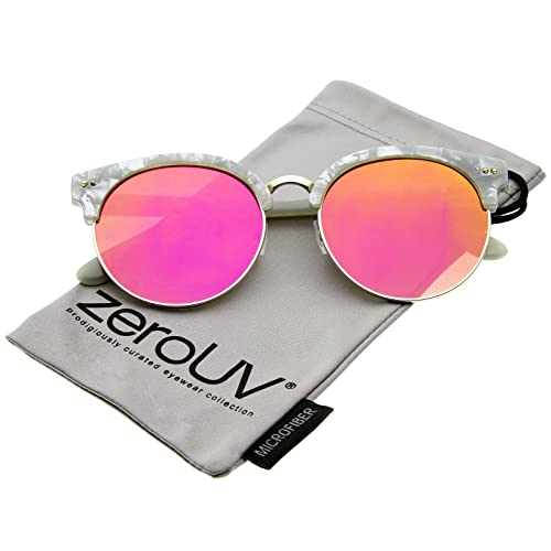 4769d9be34 Womens Half-Frame Marble Finish Moon Cut Color Mirrored Lens Round  Sunglasses (Grey-