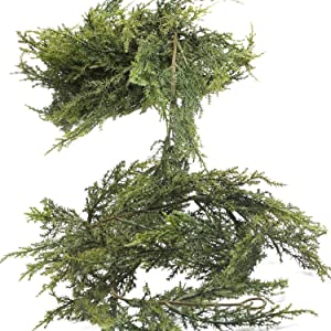 "Factory Direct Craft 72"" Realistic Artificial Vinyl Cedar Pine Green Garland for Holiday Home Decor"