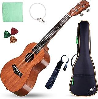 """Acoustic Concert Ukulele Mahogany Ukelele 23"""" Beginners Starter Kit with Free Online Courses and Ukulele Accessories, Electric 23"""