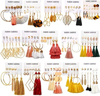 93 Pairs Colorful Earrings with Tassel Earrings Layered...