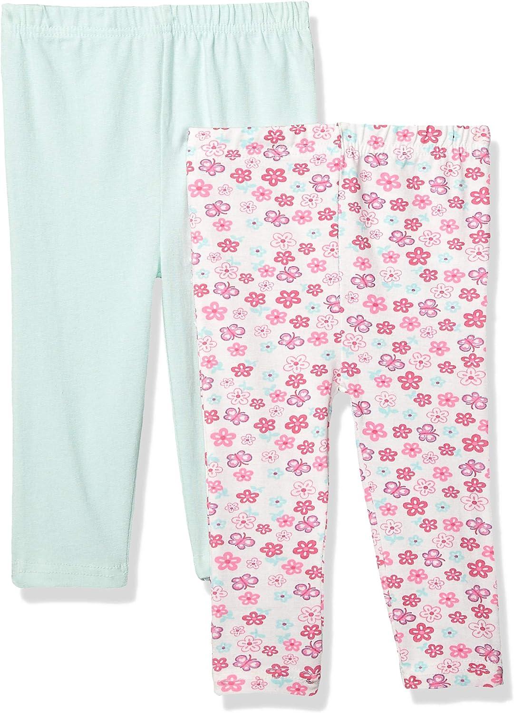 Quiltex Baby Girls' Cute Floral Prints Leggings 2 Pack Set